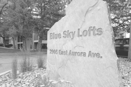 Entrance to Blue Sky Lofts Apartments